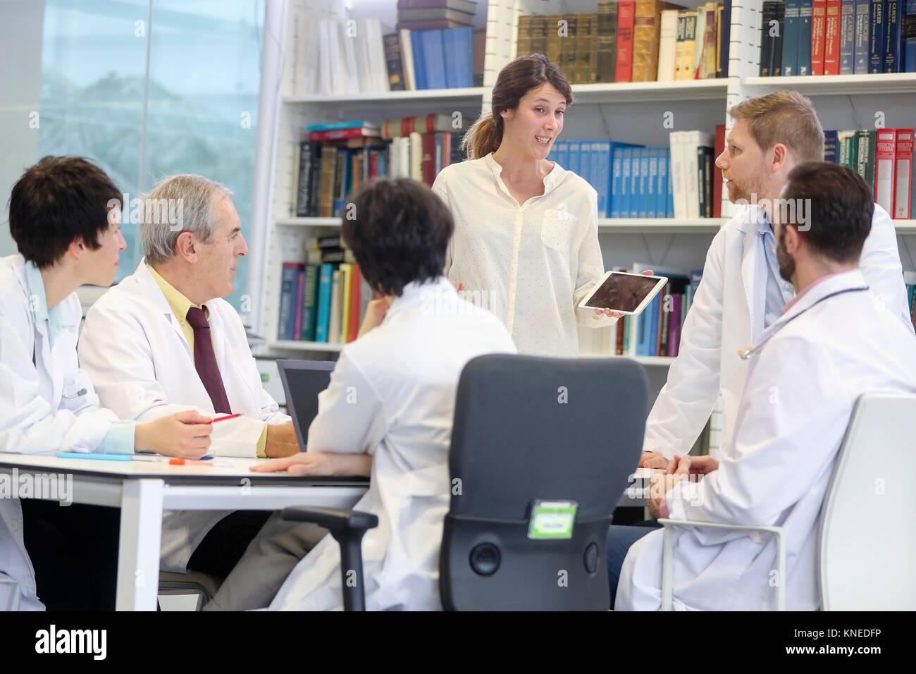 Saleswoman at doctors´ meeting, clinical session, Hospital, Donostia, San Sebastian, Gipuzkoa, Basque Country, - Stock Image
