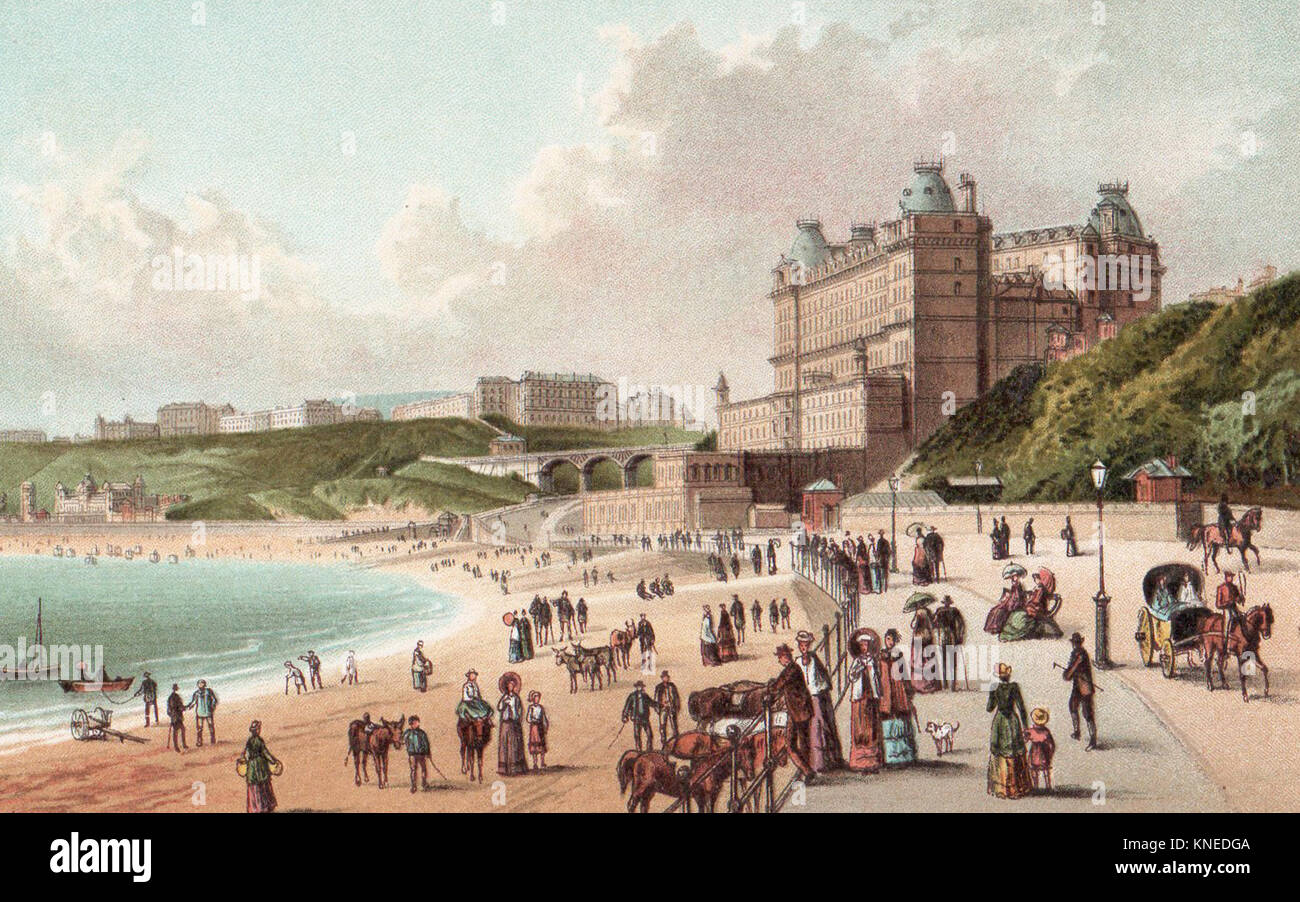 Foreshore Road, Scarborough, Victorian illustration - Stock Image