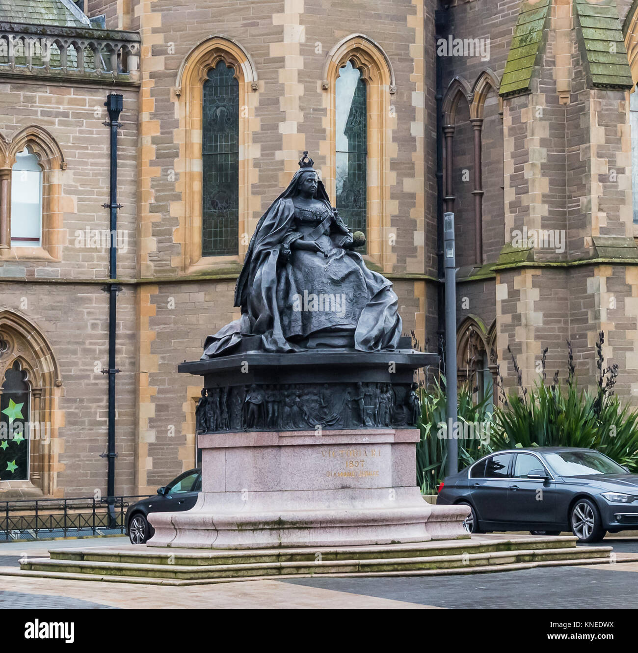Dundee,Scotland,UK-Dercember 05,2017: Queen Victoria's Statue which is situated in Albert Square Dundee. - Stock Image