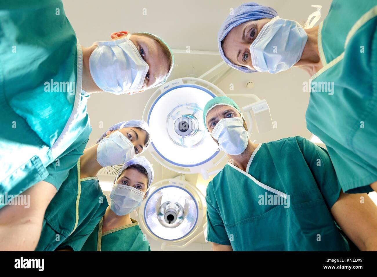 Surgeon, Surgery, Operating room, Hospital, Spain - Stock Image