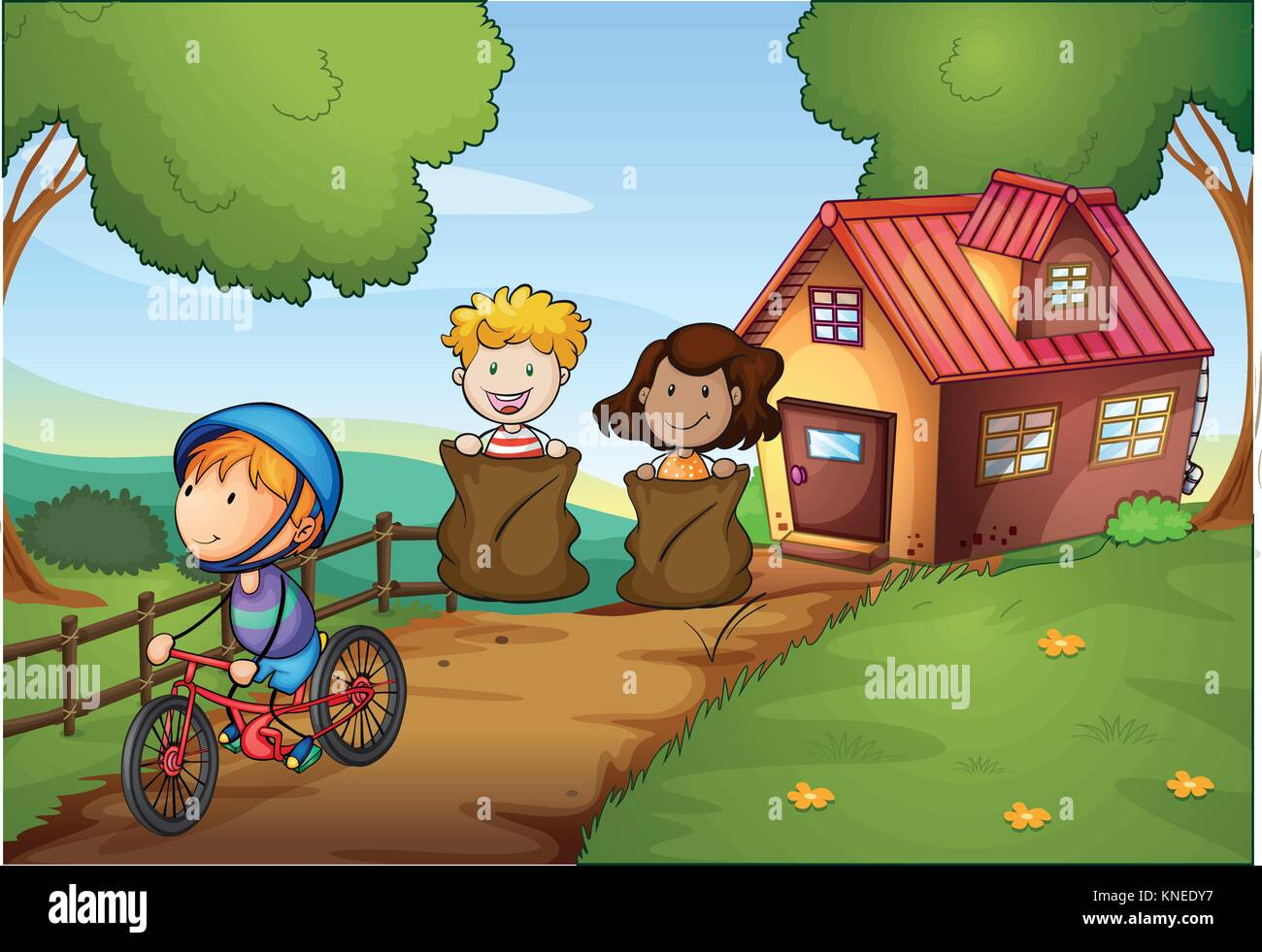 Illustration of a sack race between two young girls and a boy riding a bike - Stock Vector