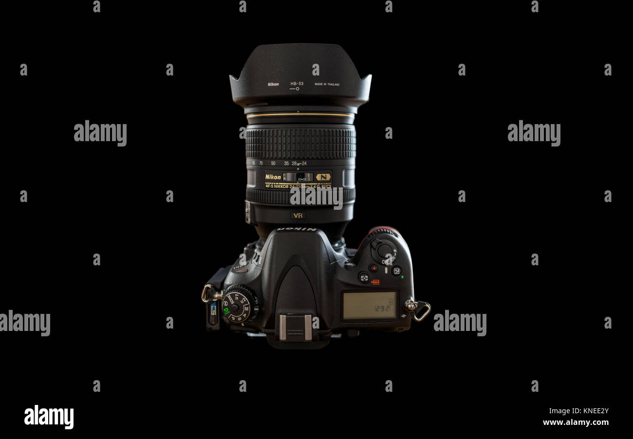 Largs,Scotland,UK-December 01, 2017: Nikon D610 Camera with Nikon 24-120mm F4 lens  and isolated on black background. - Stock Image