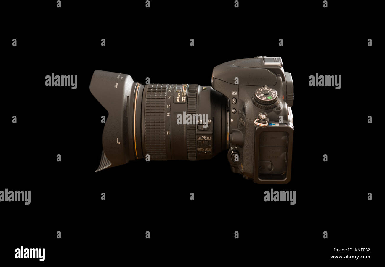 Largs,Scotland,UK-December 01, 2017: Nikon D610 Camera with 24-120mm F4 lensat a rear profile and isolated on black - Stock Image