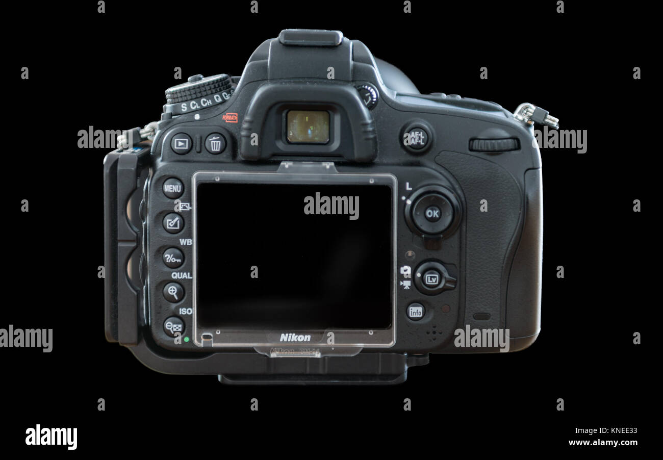 Largs,Scotland,UK-December 01, 2017: Nikon D610 Camera with 24-120mm F4 lens at a rear profile and isolated on black - Stock Image