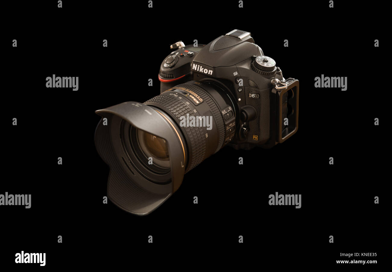 Largs,Scotland,UK-December 01, 2017: Nikon D610 Camera with 24-120mm F4 lens  at a rear profile and isolated on - Stock Image