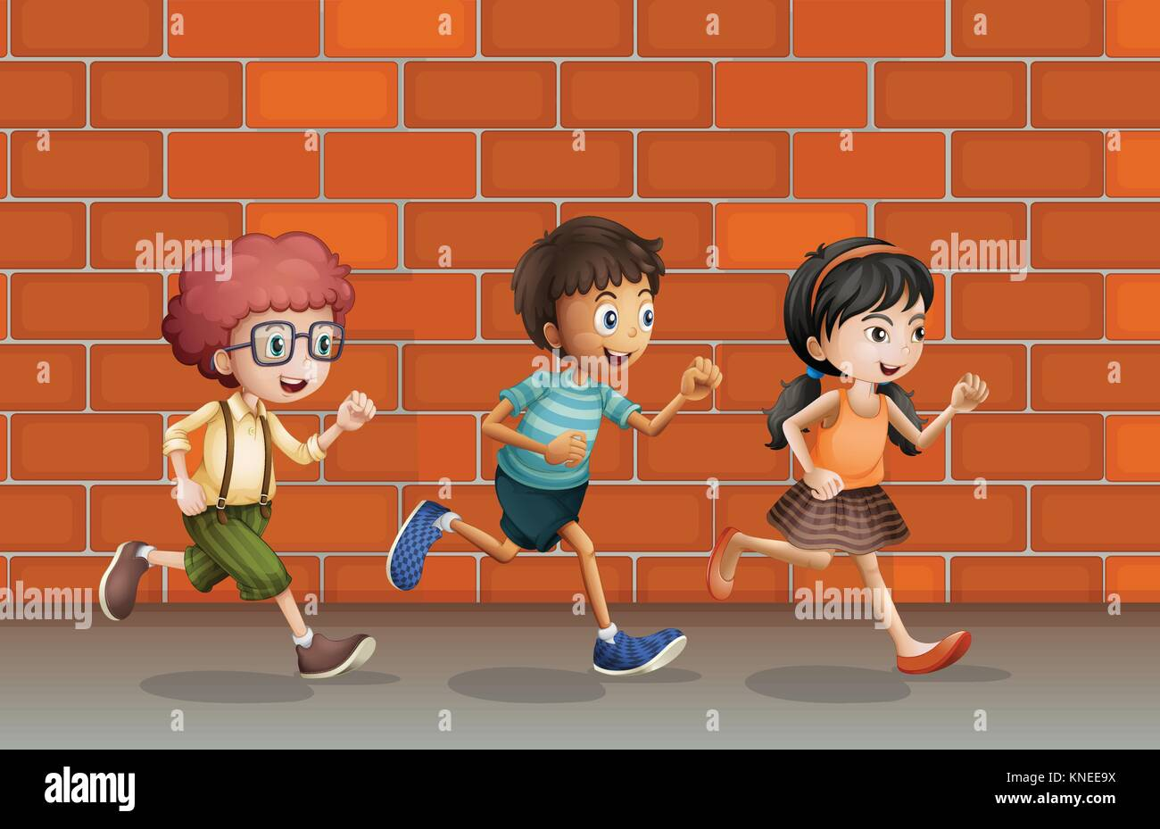 Illustration Of Kids Running Near A Brick Wall