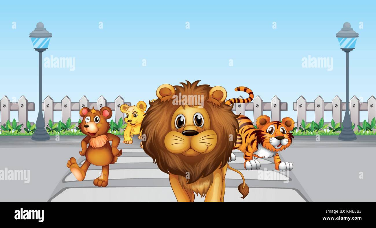 Illustration of wild animals in the road - Stock Vector