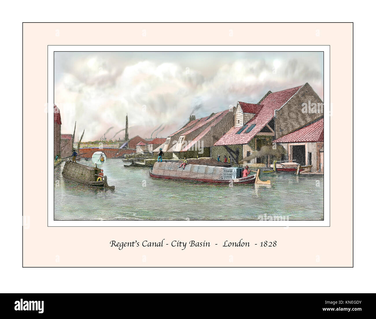Regents Canal City Basin Original Design based on a 19th century Engraving - Stock Image