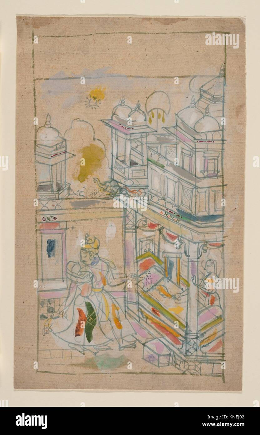 Lovers Returning to a Palace. Date: late 18th century; Culture: India (Rajasthan, Bundi); Medium: Ink and opaque - Stock Image