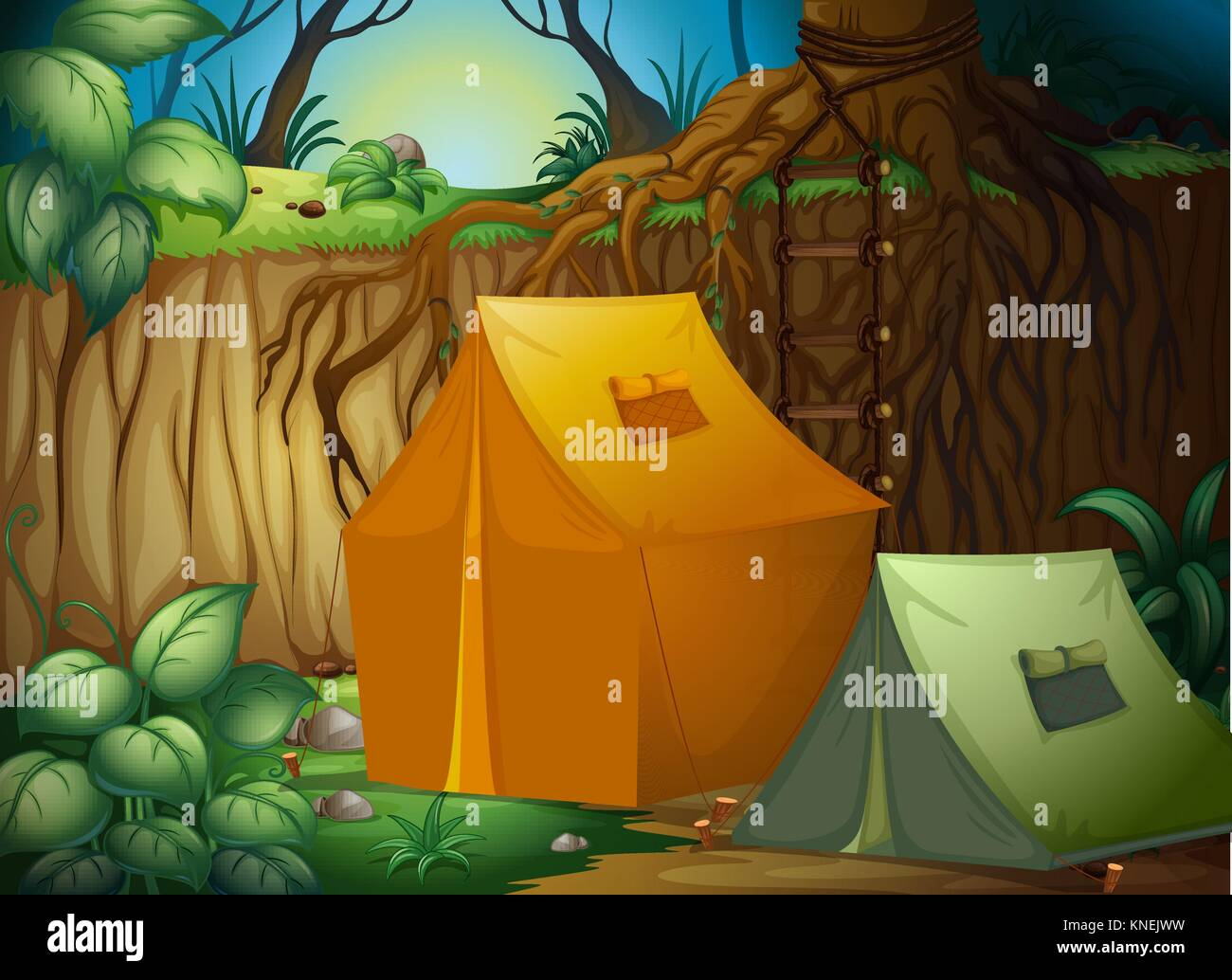Illustration of a tent camp in the woods - Stock Vector