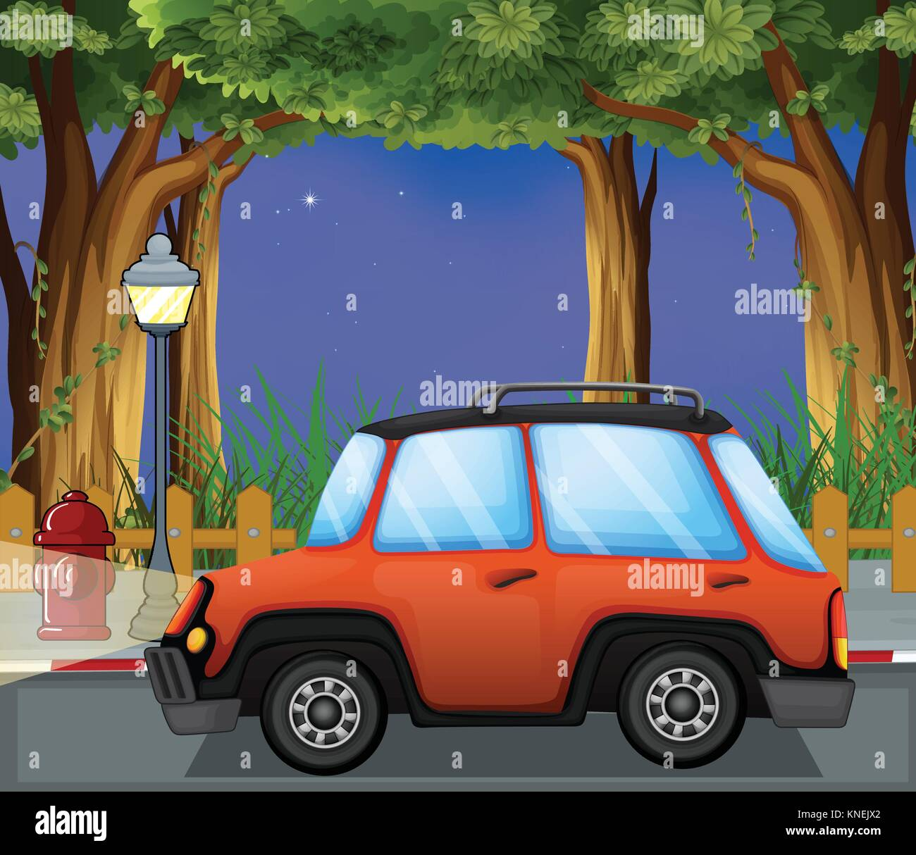 Illustration of a car in the street - Stock Vector
