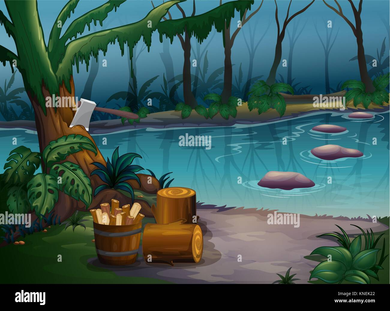 Illustration of a mysterious forest and a river - Stock Vector