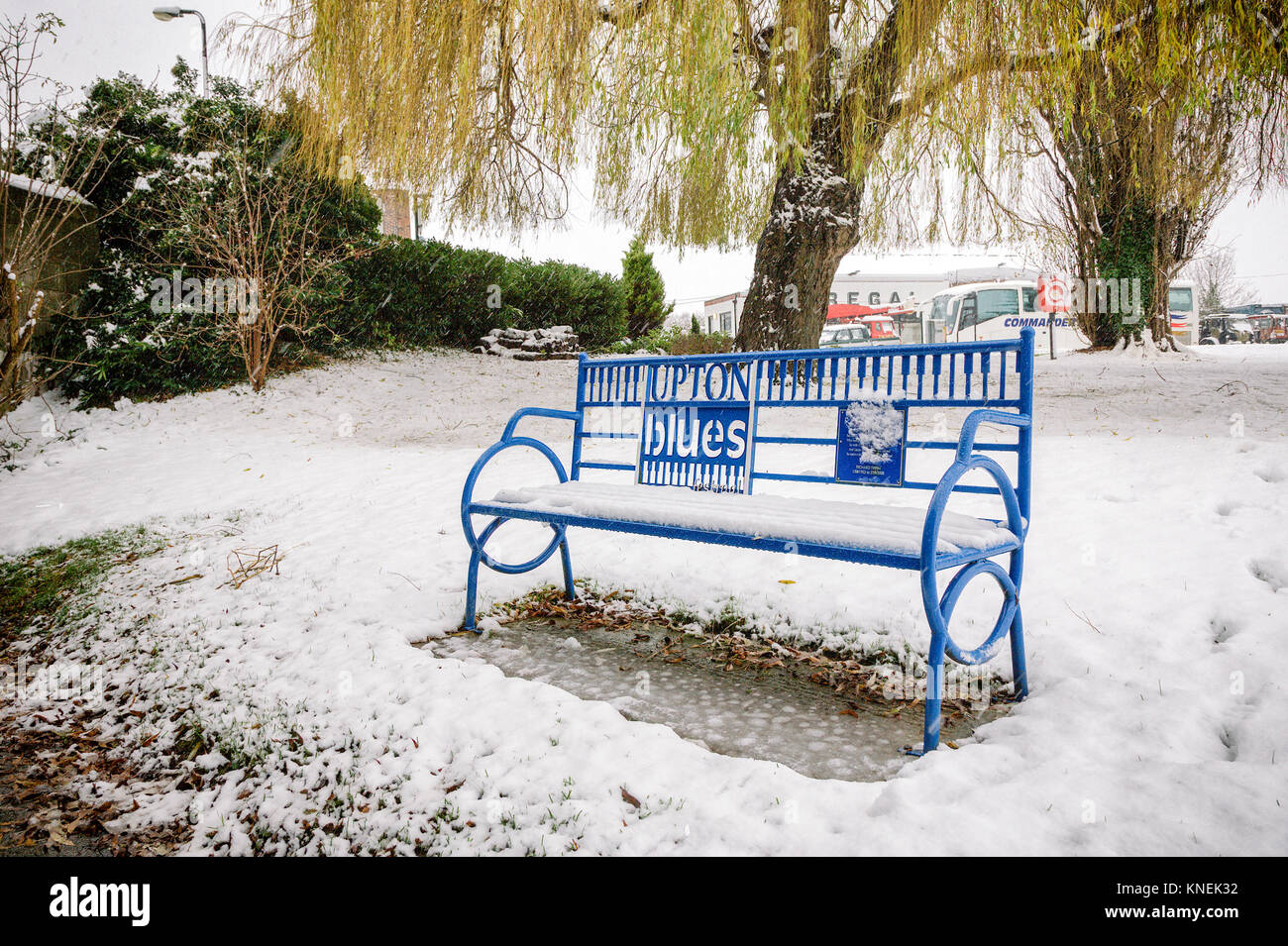 Snow Blues, Upton upon Severn Worcestershire in winter 2017 - Stock Image