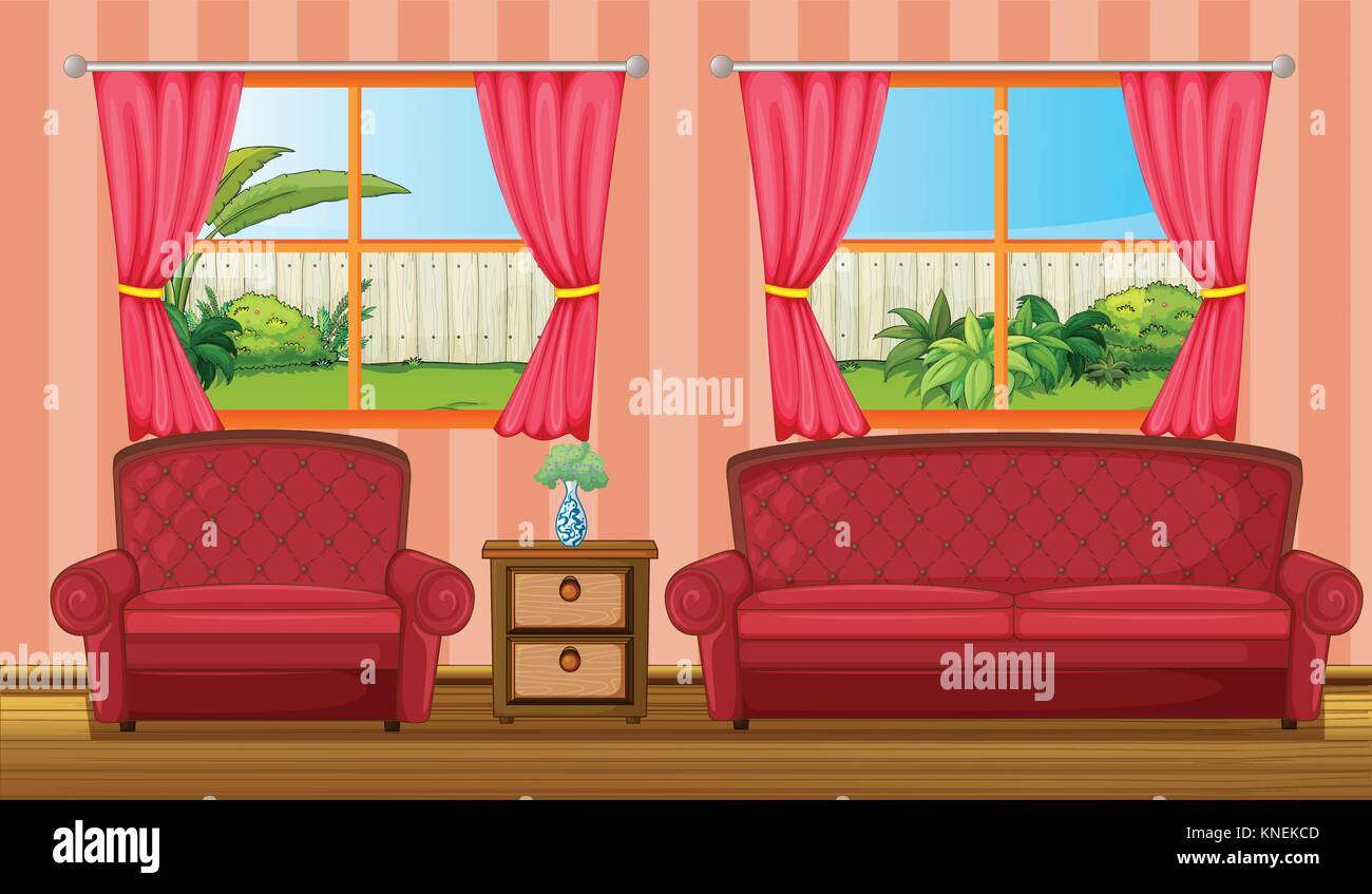 Picture of: Illustration Of A Red Sofaset And Side Table In A Room Stock Vector Image Art Alamy