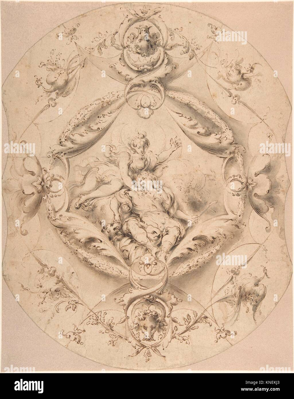 Ornamental Design with Diana and Endymion in a Central Cartouche. Artist: Attributed to Jacob Denys (Flemish, 1644 - Stock Image