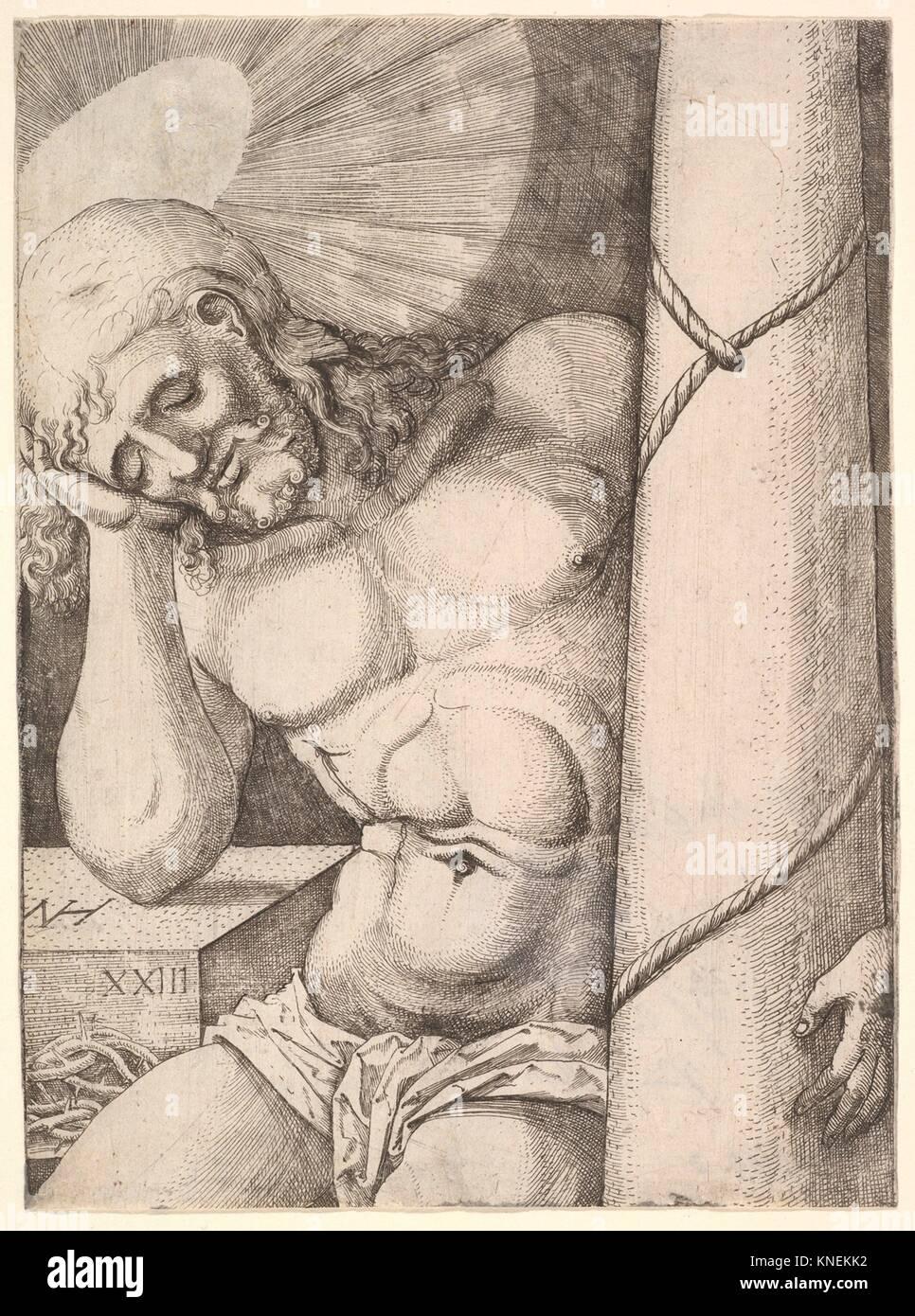 The Man of Sorrows at the Column. Artist: Nikolaus Hogenberg (Netherlandish, Munich ca. 1500-1539 Mechelen); Date: - Stock Image
