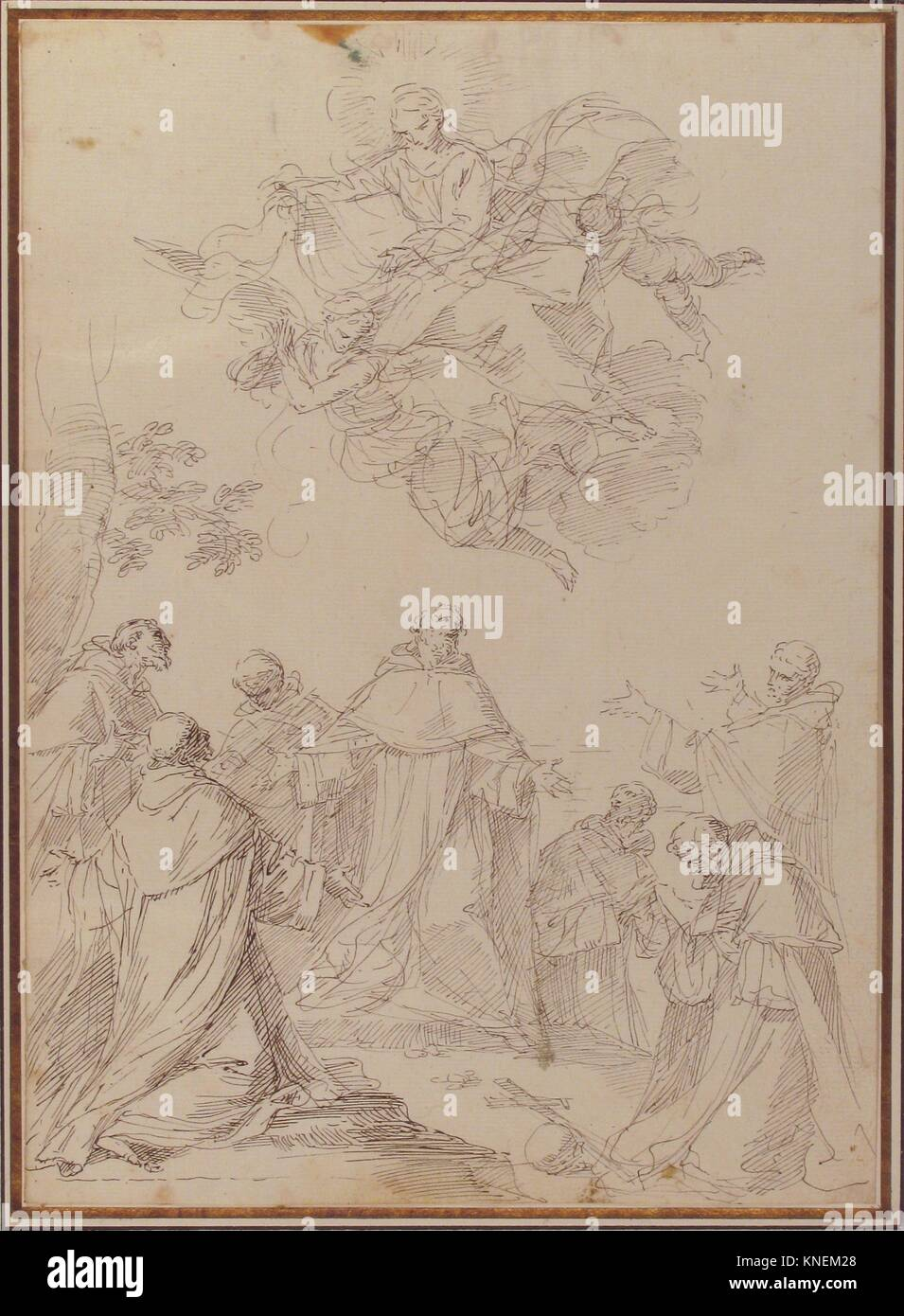 The Virgin Bringing the Habit to the Seven Founding Fathers of the Servite Order. Artist: Donato Creti (Italian, - Stock Image