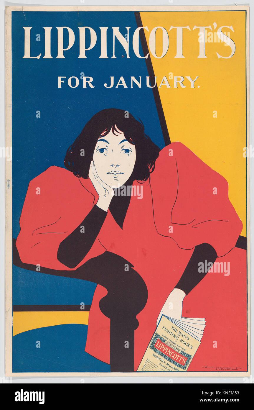 Lippincotts: January. Artist: William L. Carqueville (American, Chicago, Illinois 1871-1946); Publisher: J. B. Lippincott - Stock Image