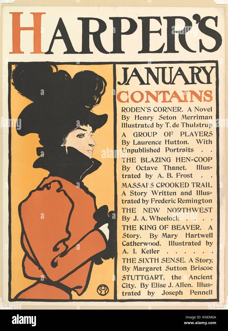 Harper's: January. Artist: Edward Penfield (American, Brooklyn, New York 1866-1925 Beacon, New York); Publisher: - Stock Image