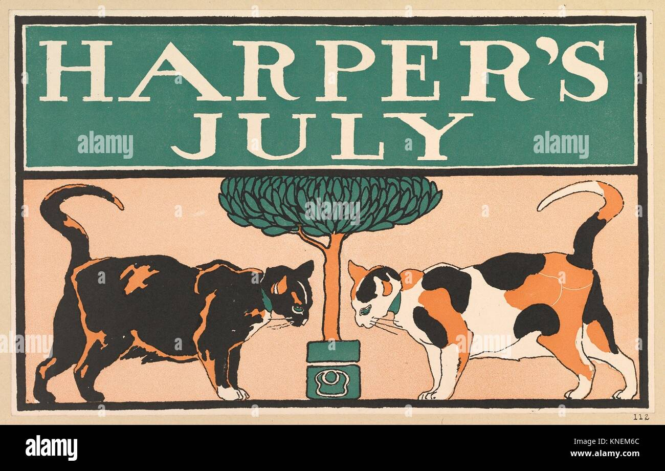 Harper's, July. Artist: Edward Penfield (American, Brooklyn, New York 1866-1925 Beacon, New York); Publisher: - Stock Image