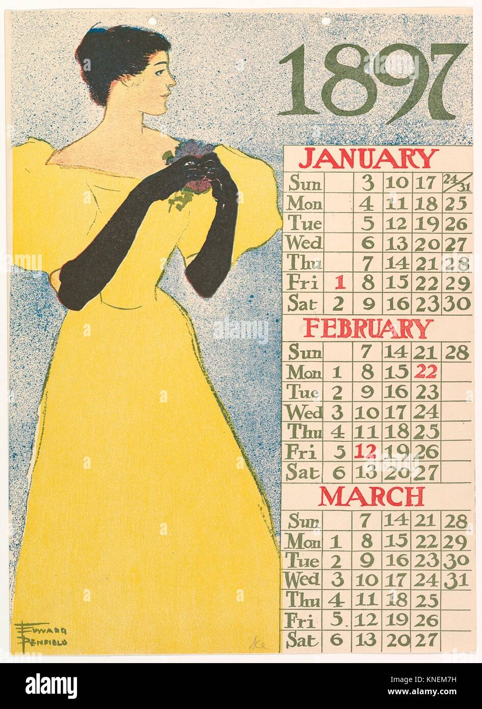 January, February, March, 1897. Artist: Edward Penfield (American, Brooklyn, New York 1866-1925 Beacon, New York); - Stock Image