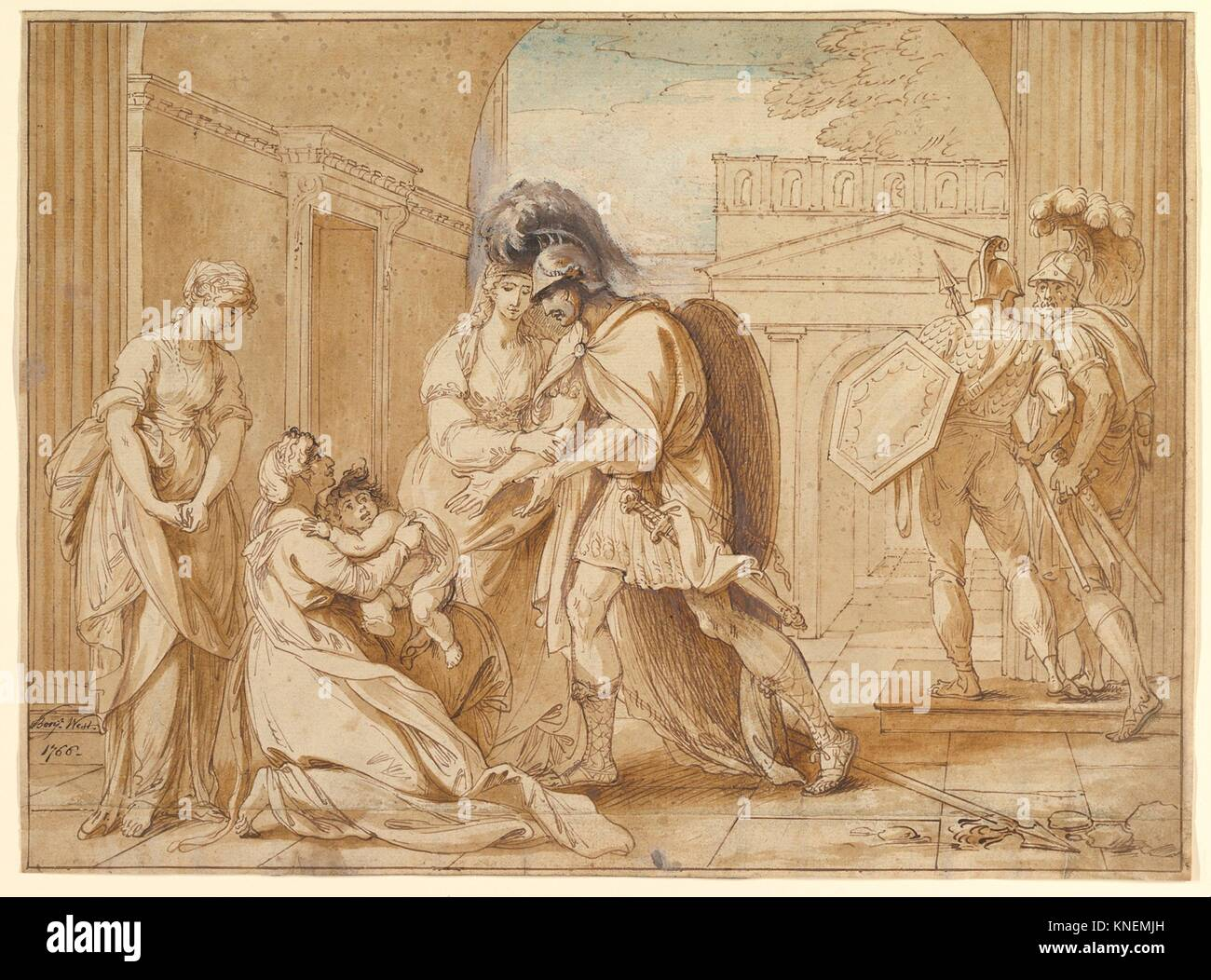 Hector taking leave of Andromache: the Fright of Astyanax. Artist: Benjamin West (American, Swarthmore, Pennsylvania - Stock Image
