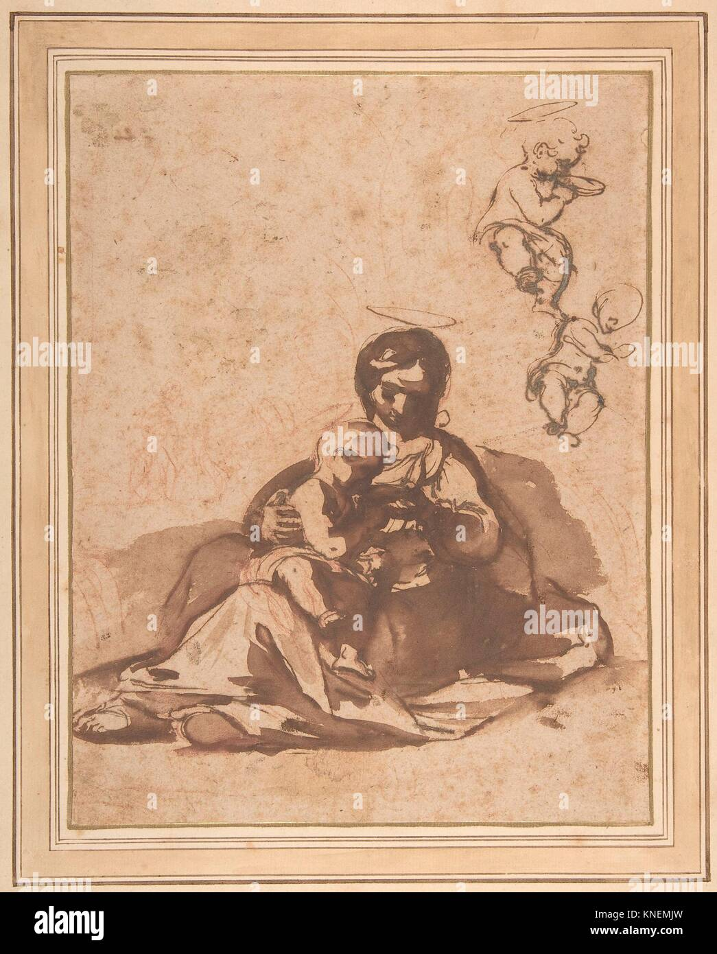 Studies for a Rest on the Flight into Egypt. Artist: Rutilio Manetti (Italian, Siena 1570-1639 Siena); Date: 1571 - Stock Image