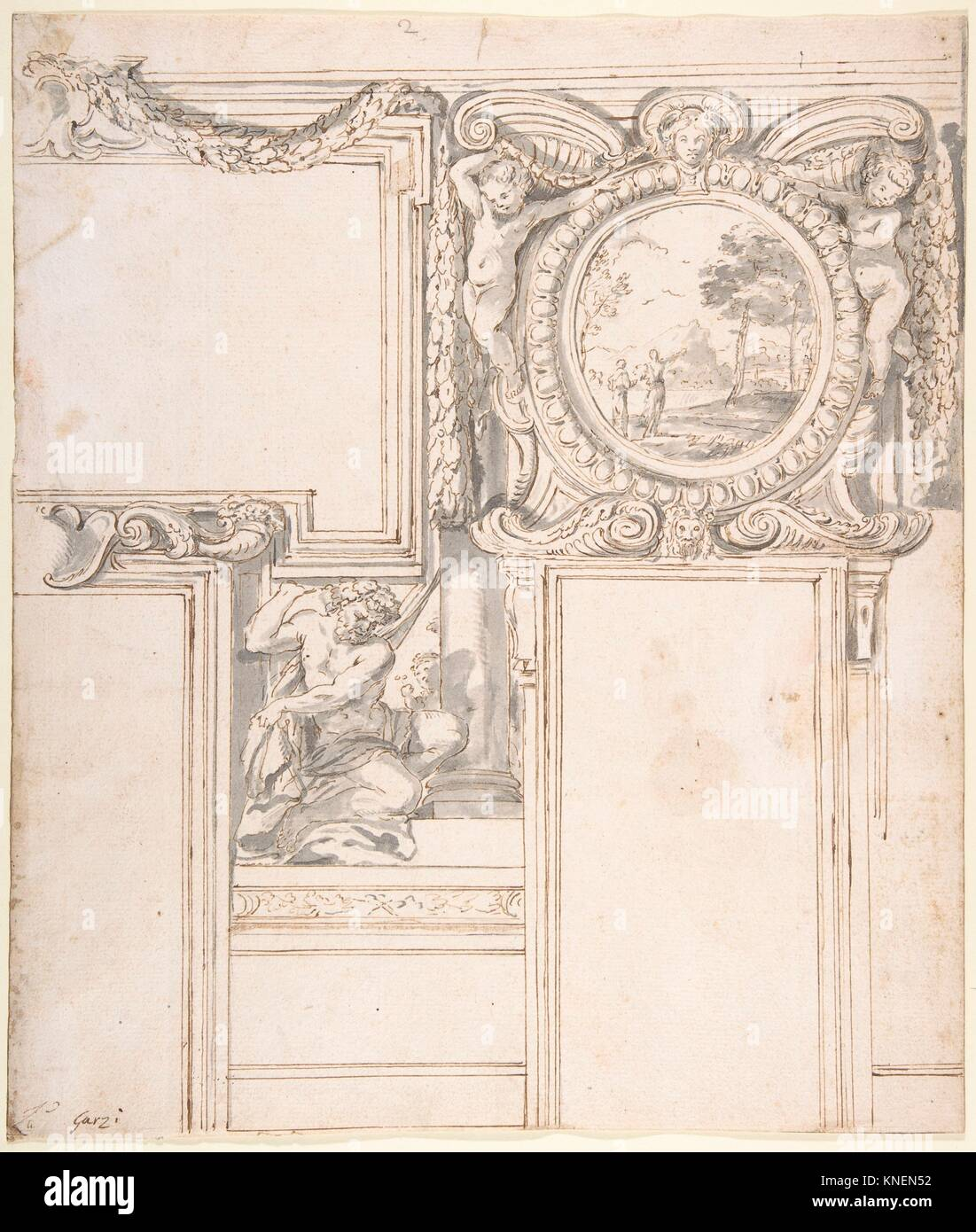 Design Wall Elevation with Stucco and Painted Decorations. Artist: Luigi Garzi (Italian, Pistoia 1638-1721 Rome); - Stock Image