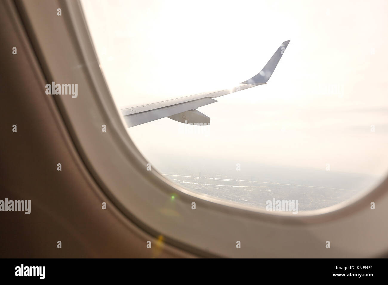 View from aeroplane window of another plane Stock Photo