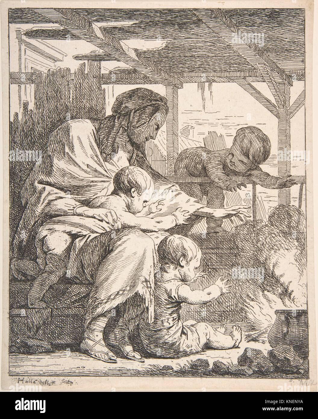 Family Warming Their Hands By a Fire. Artist: NoÃ«l Hallé (French, Paris 1711-1781 Paris); Date: - Stock Image