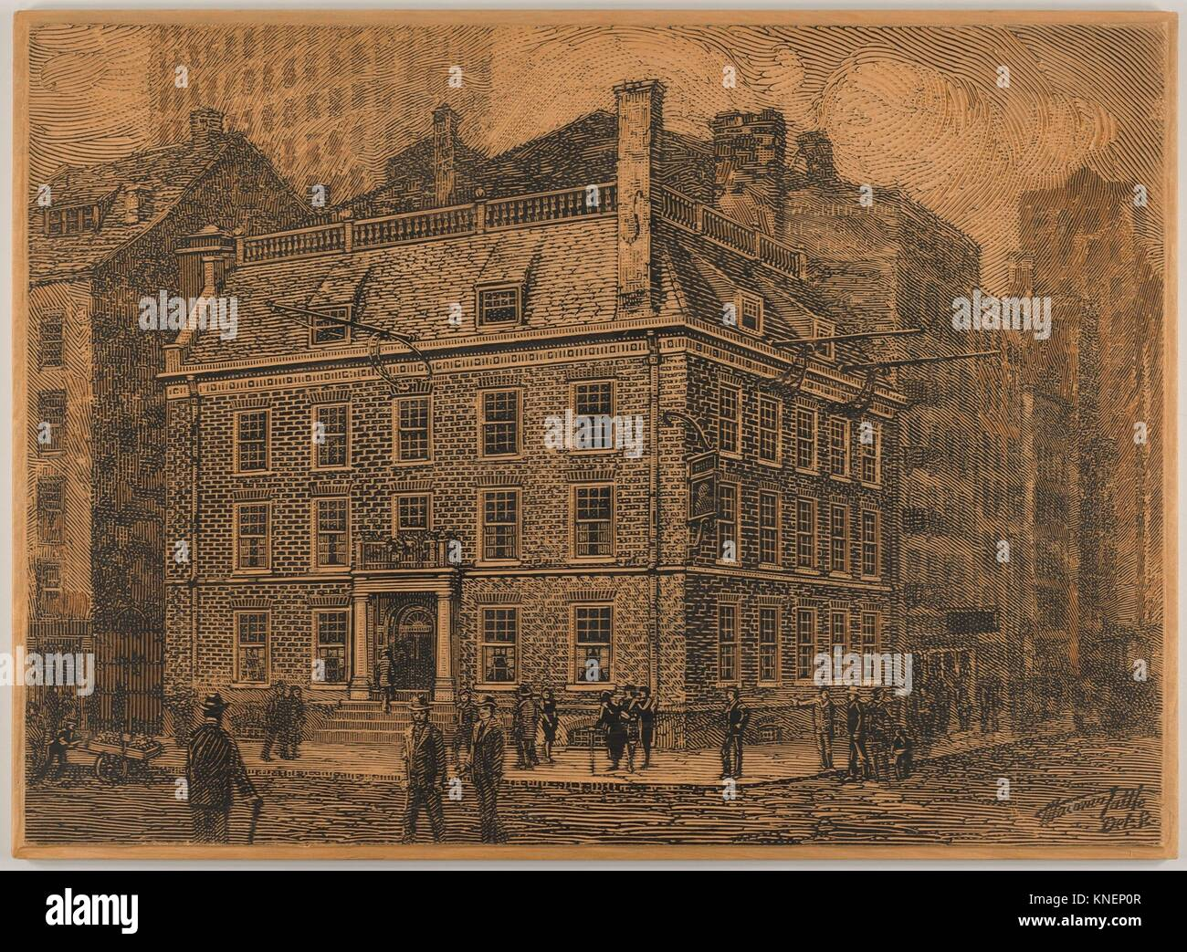 Old Fraunce's Tavern, New York. Artist: Charles Macowin Tuttle (American, 1861-1935); Date: 1880-1935; Medium: - Stock Image