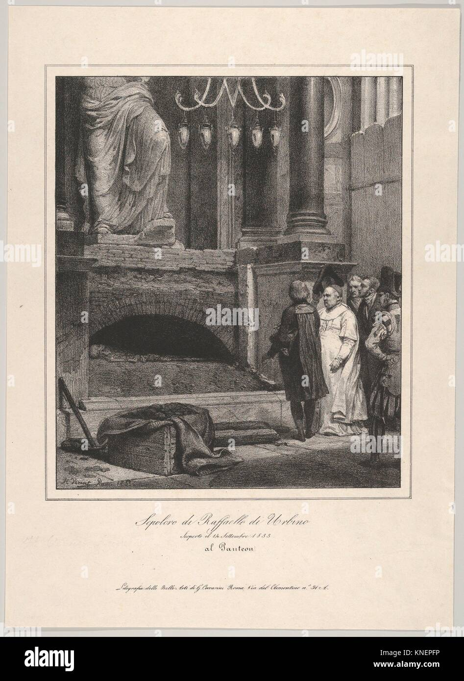 The Tomb of Raphael, Opened September 14, 1833, Pantheon, Rome. Artist: Horace Vernet (French, Paris 1789-1863 Paris); - Stock Image
