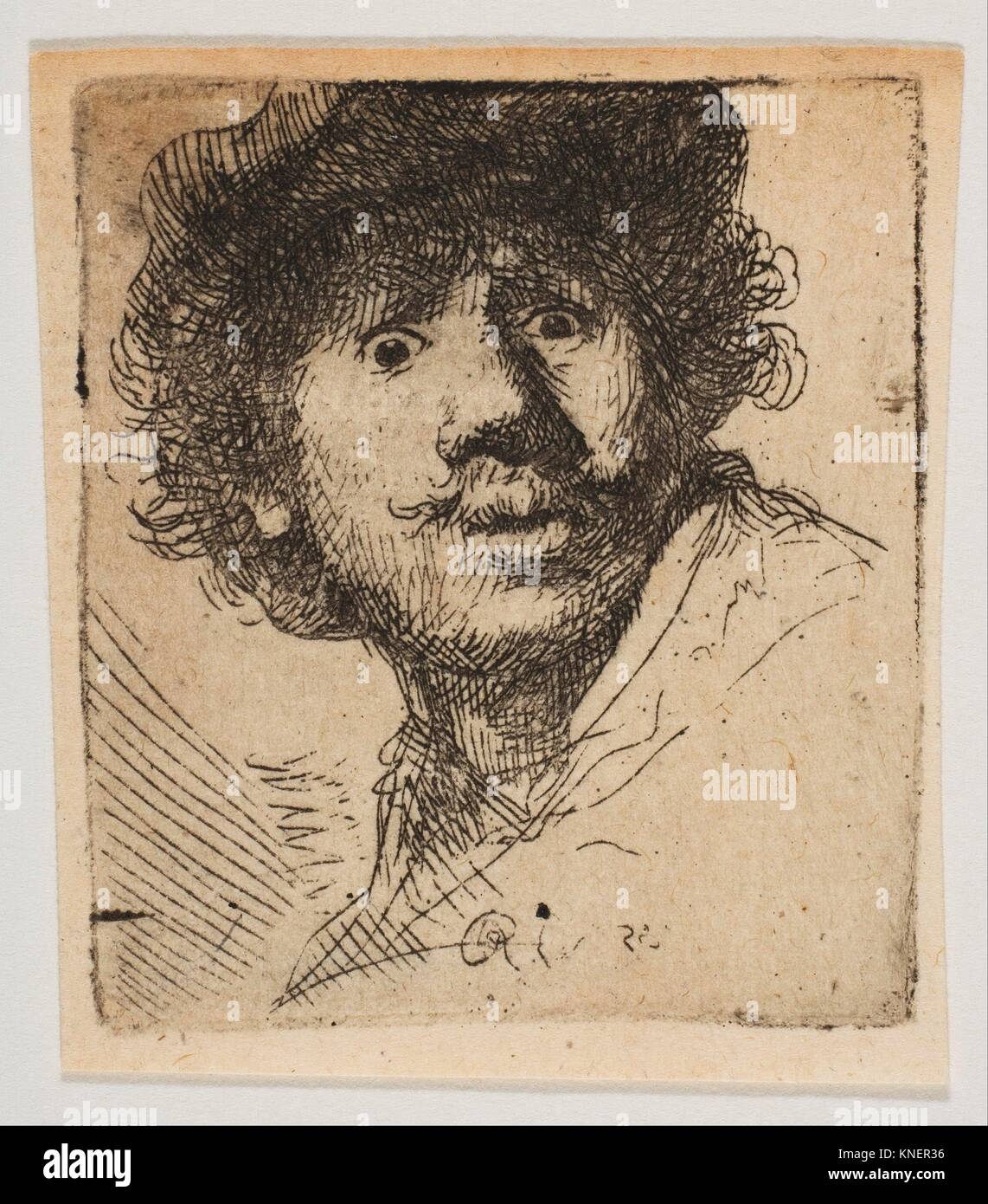 Rembrandt in a Cap, Open Mouthed and Staring: Bust in Outline (copy). Artist: After Rembrandt (Rembrandt van Rijn) - Stock Image