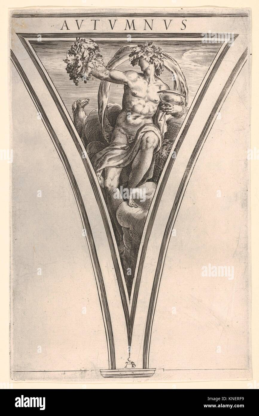 Autumn (Autumnus), represented as a seated male figure bearing grapes in his right hand and a lidded vessel in his - Stock Image
