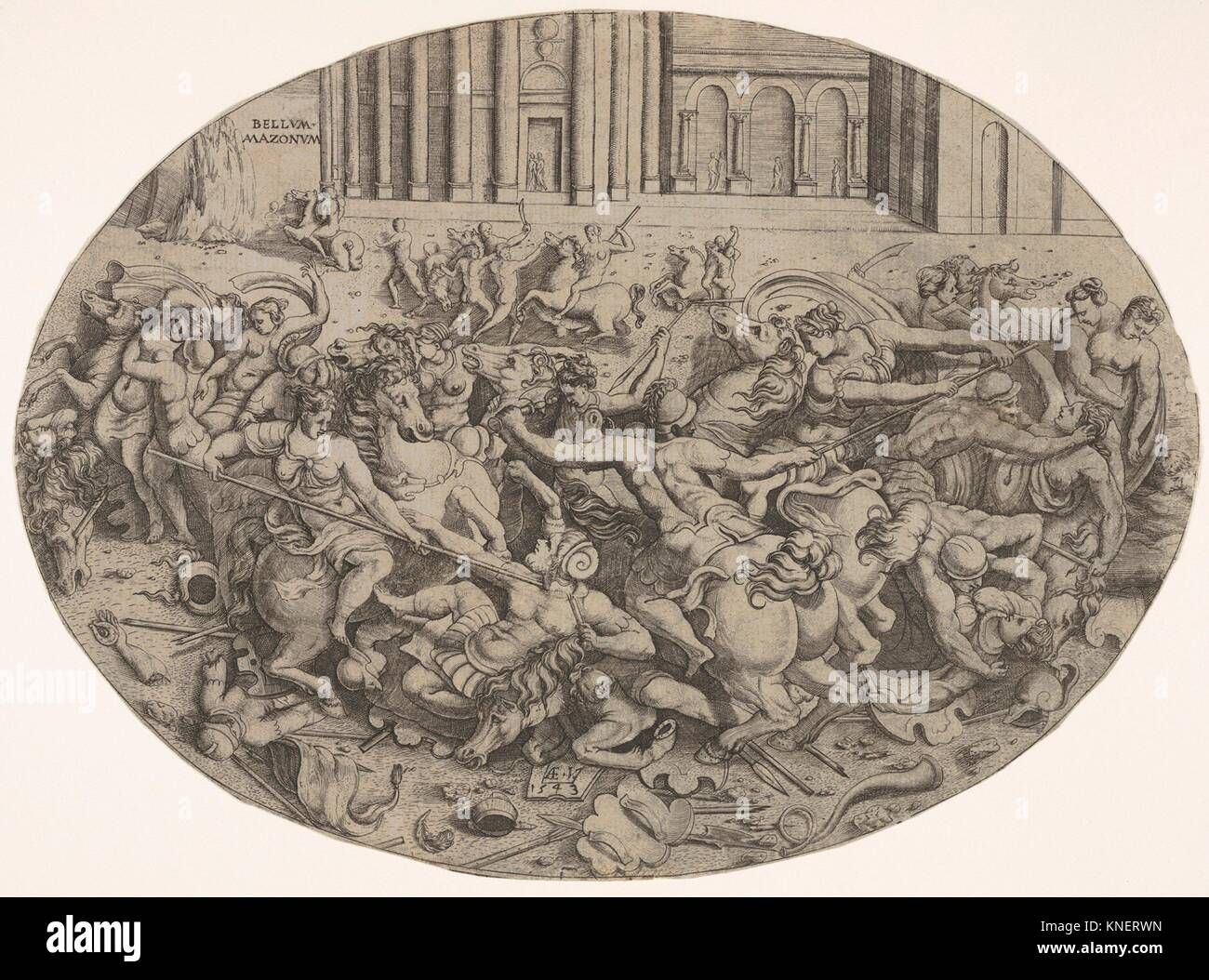 Combat between Amazons and men in front of architectural arcades, an oval composition with weapons, headgear, and - Stock Image