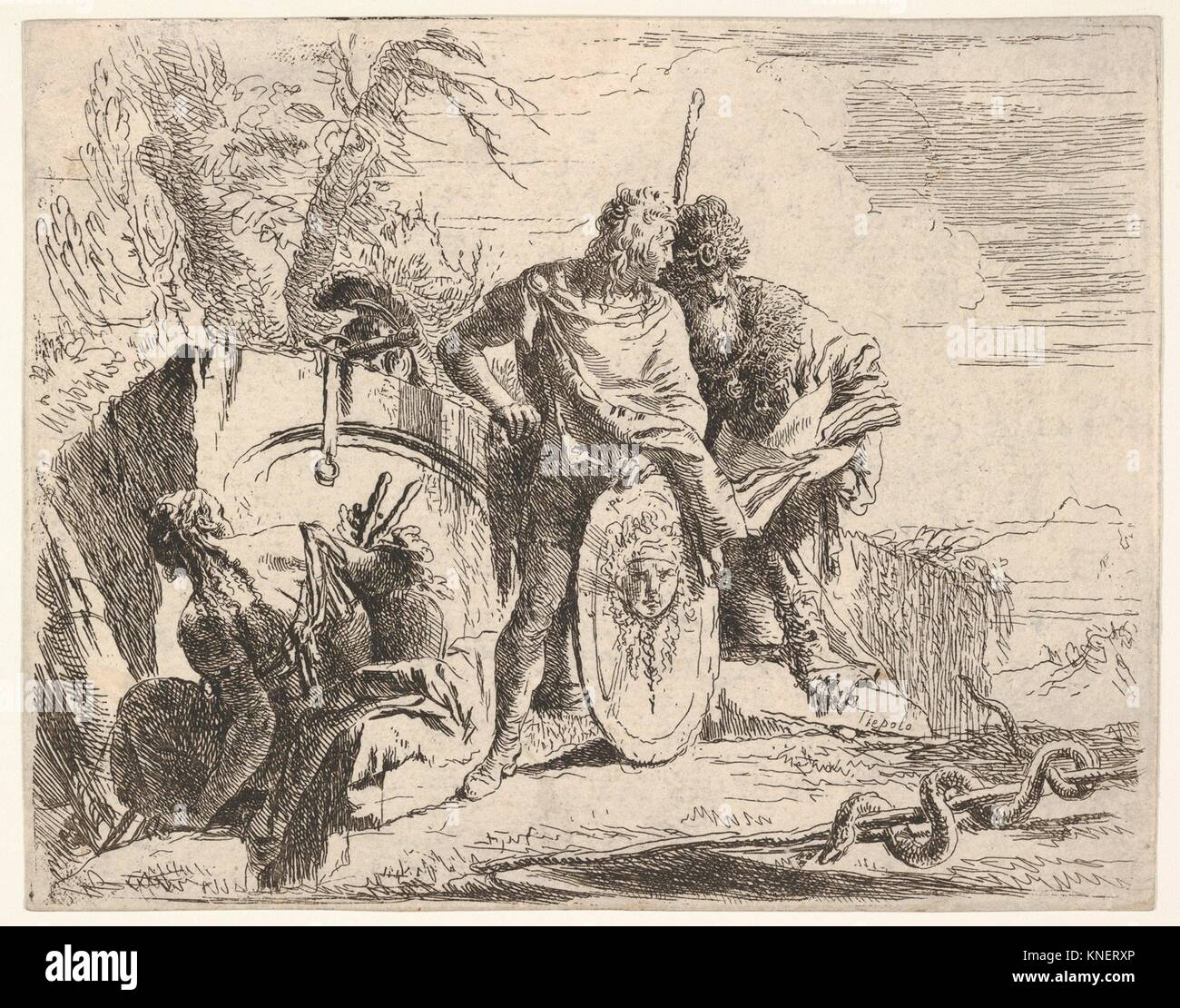 Three figures and a snake coiled around a staff, surrounded by a landscape, the central figure rests his left hand - Stock Image