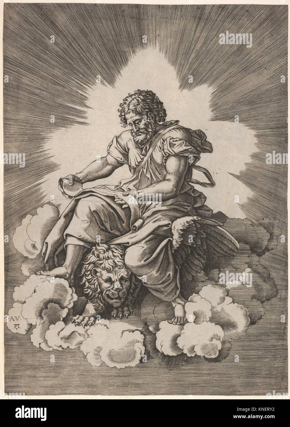 St. Mark, seated with an unfurled scroll in his hands, a winged lion's head and forefeet emerge beneath his - Stock Image
