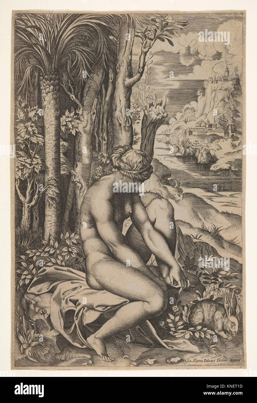 Venus removing a thorn from her left foot while seated on a cloth beside trees and foliage, a hare eating grass Stock Photo