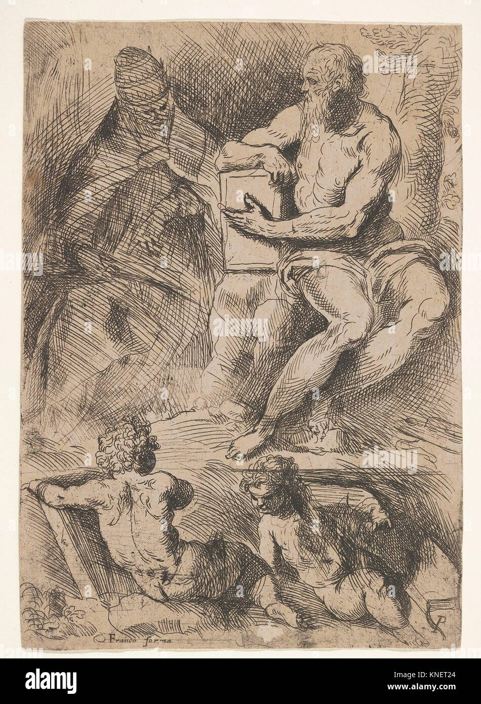 Sheet of studies with St. Jerome, seated at right and resting his right forearm on a book, at left an ecclesiastical - Stock Image