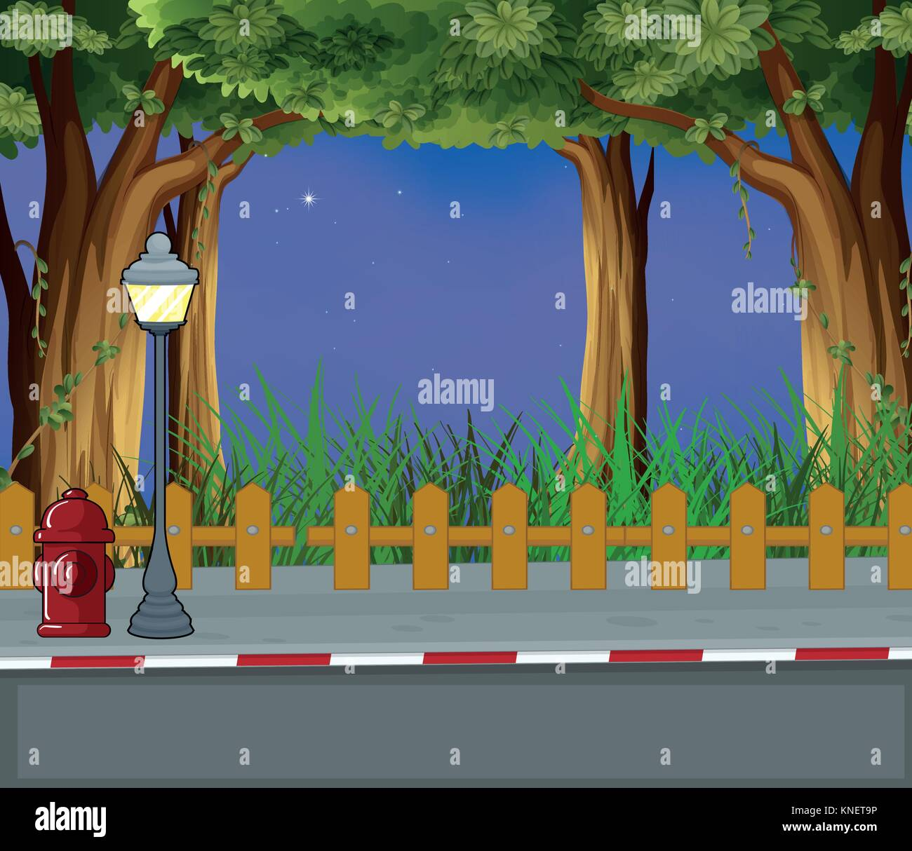 Illustration of the evening view of the street - Stock Vector