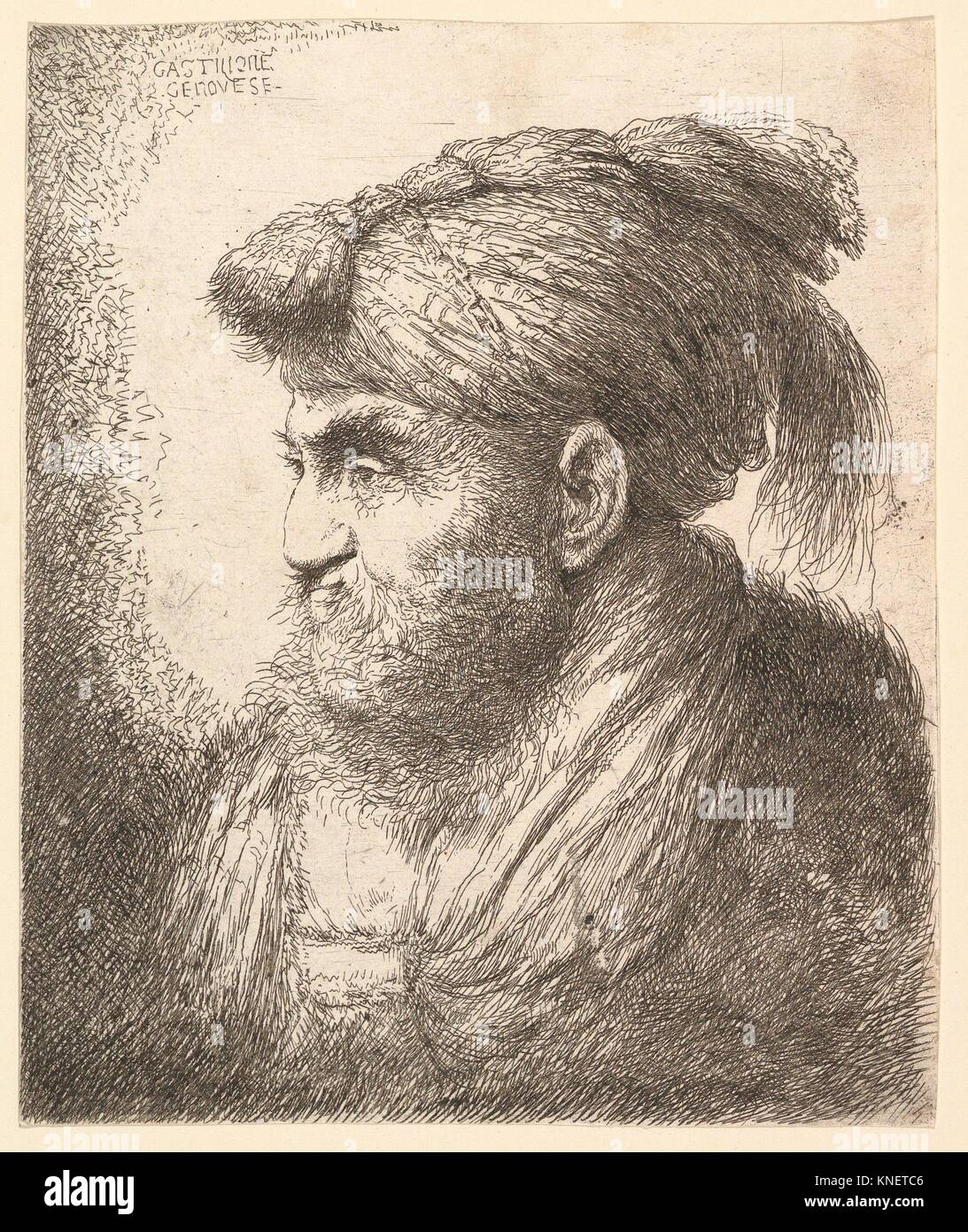 Man with a Beard and Mustache, Wearing a Tasseled Headdress, Facing Left. Artist: Giovanni Benedetto Castiglione - Stock Image