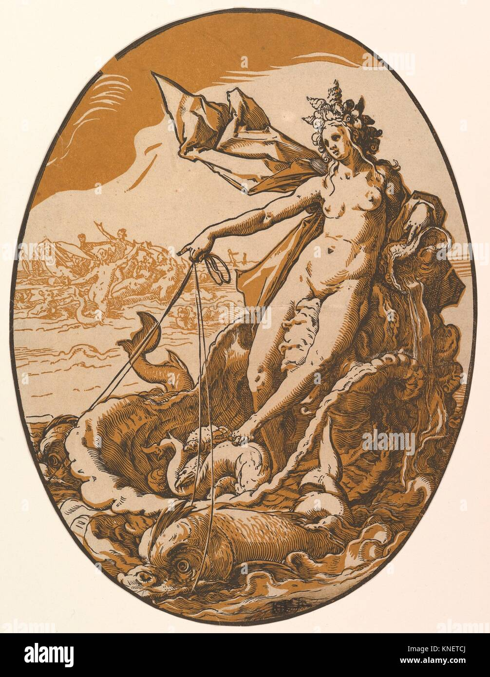 Tethys reclining in a giant shell chariot pulled by two sea