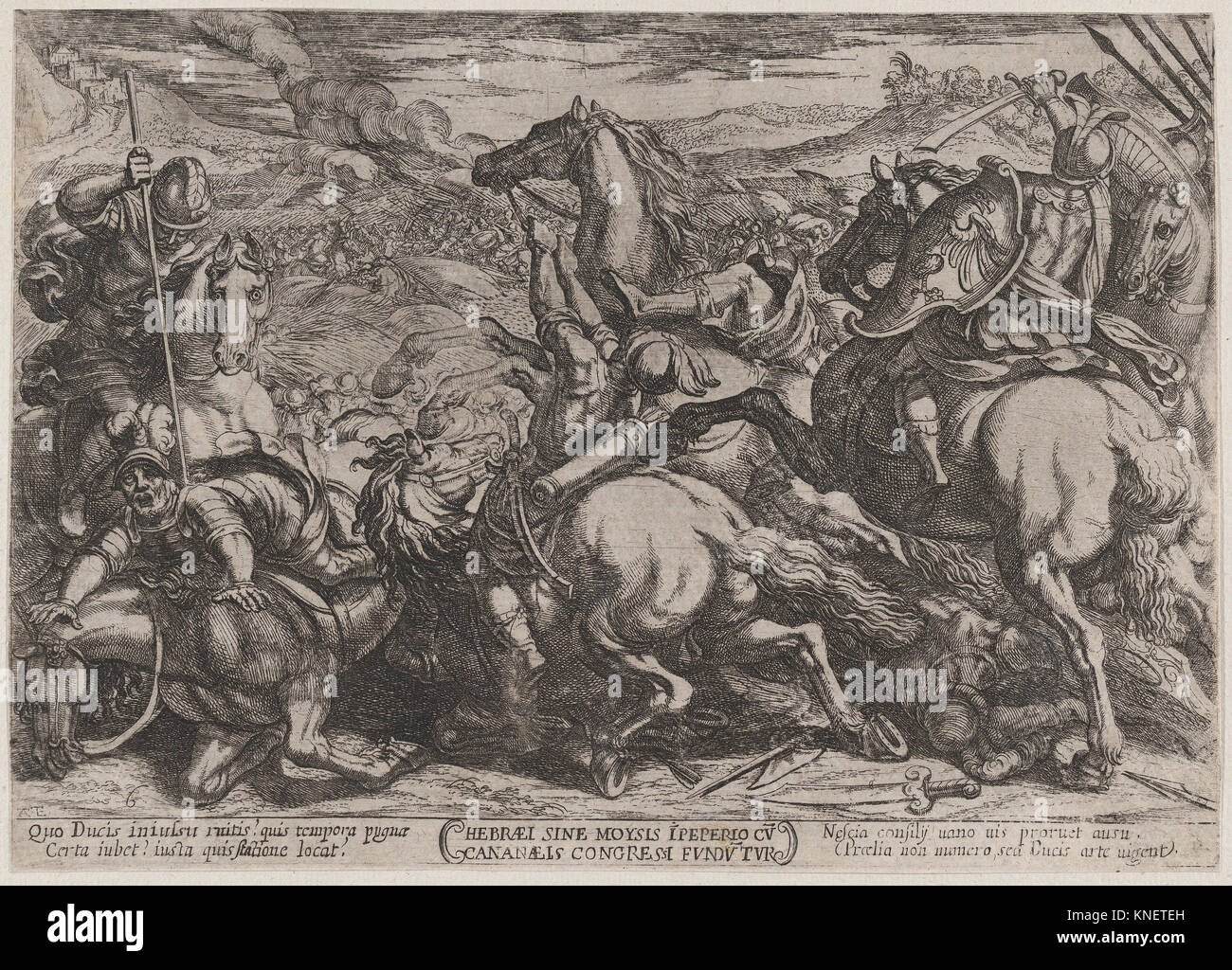 Plate 6: The Israelites Defeated by the Canaanites for Having Disobeyed Moses, from 'The Battles of the Old - Stock Image