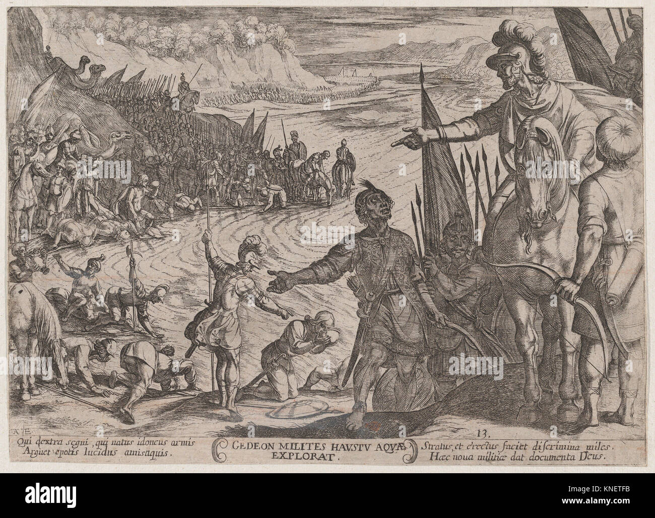 Plate 13: Gideon Choosing his Soldiers, from 'The Battles of the Old Testament'. Artist: Antonio Tempesta - Stock Image