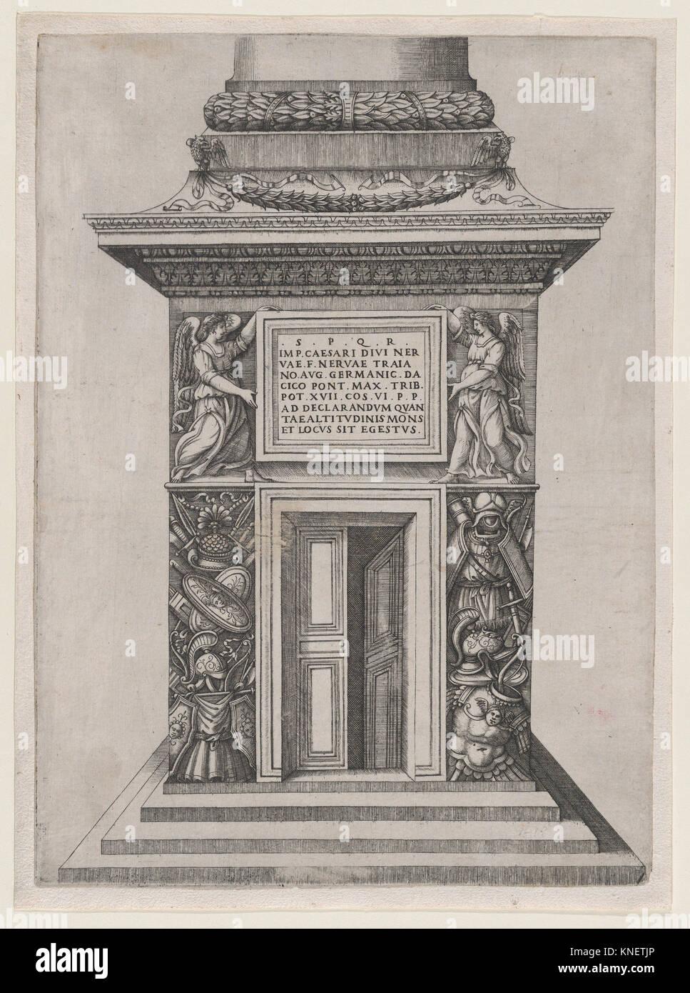 Speculum Romanae Magnificentiae: The Pediment Base of Trajan's Column. Series/Portfolio: Speculum Romanae Magnificentiae; - Stock Image