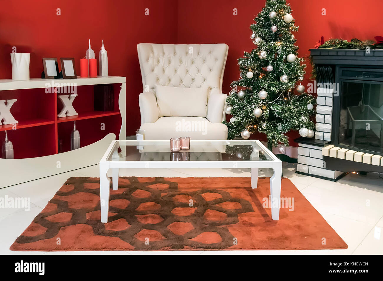 Beautiful holiday decorated room with Christmas tree, - Stock Image
