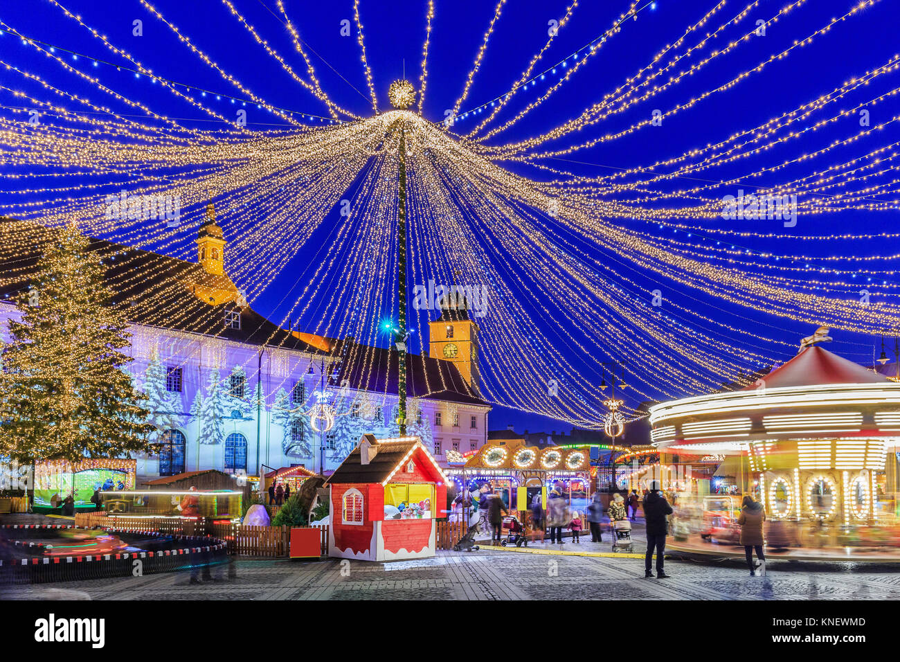 Sibiu, Romania.  Christmas Market at twilight. Transylvania, Romania. Stock Photo