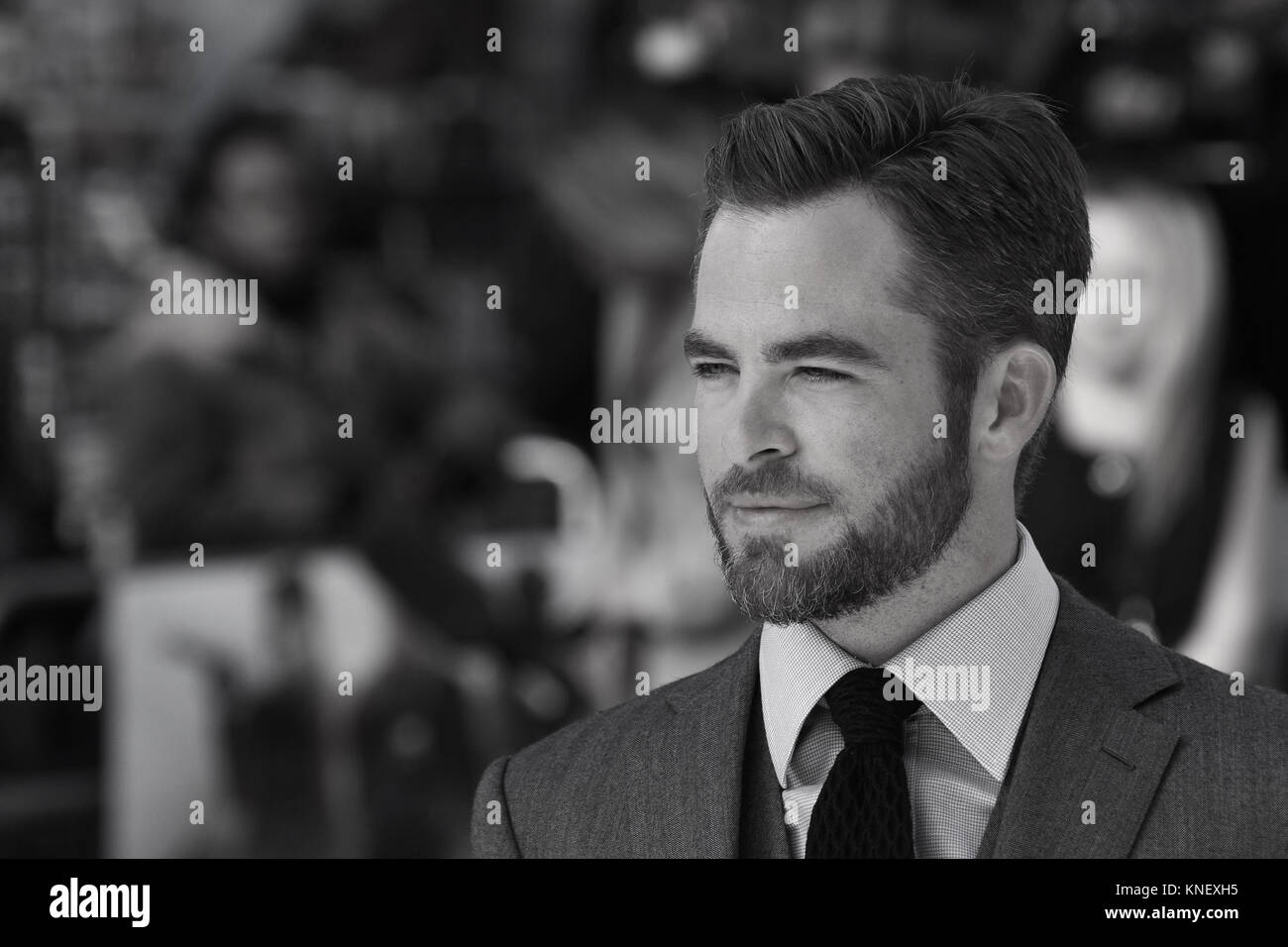 London, UK, 2nd May, 2013: Image digitally altered to monochrome Chris Pine attends the UK Premiere of 'Star - Stock Image
