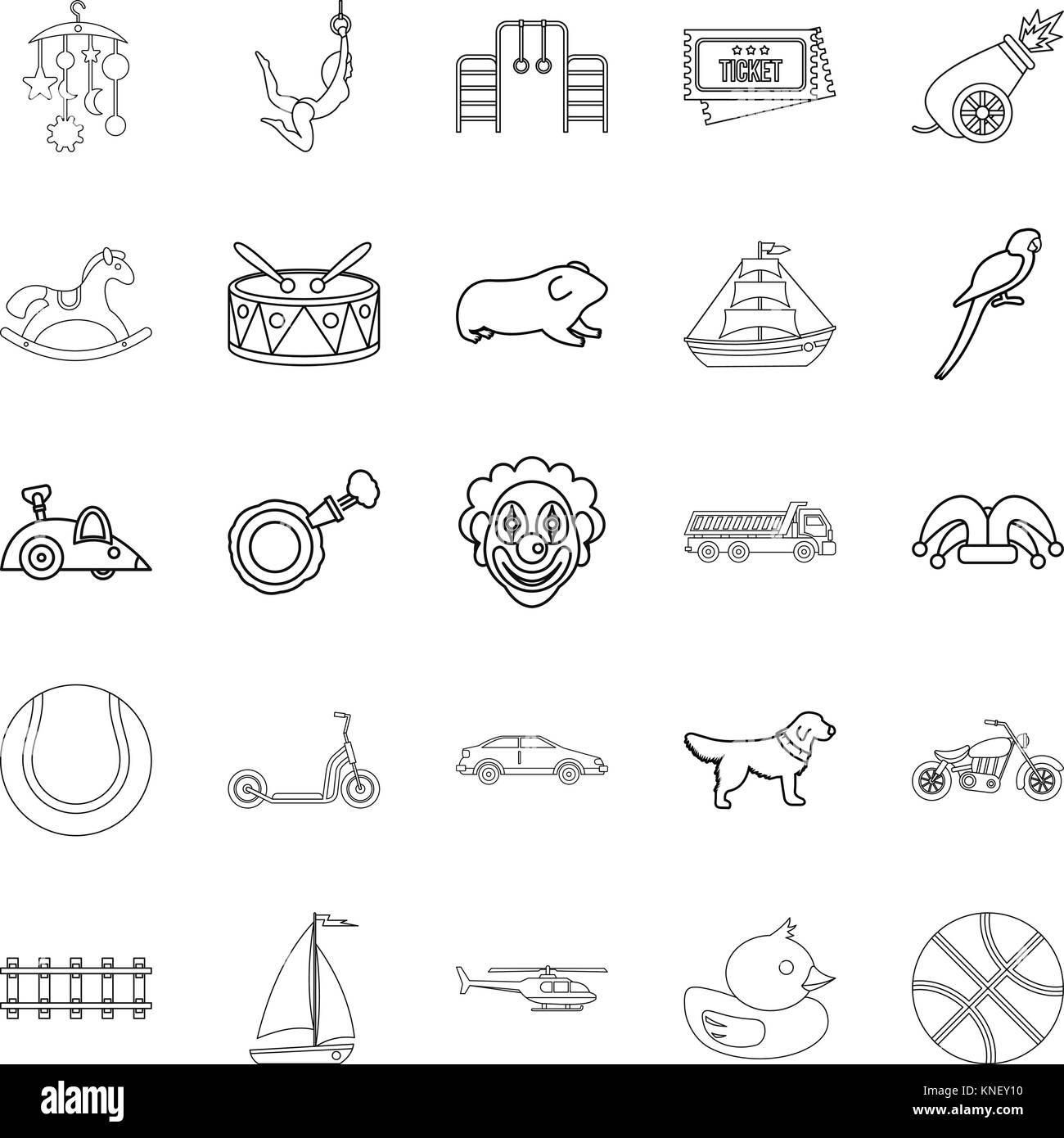 Puerility icons set, outline style - Stock Image
