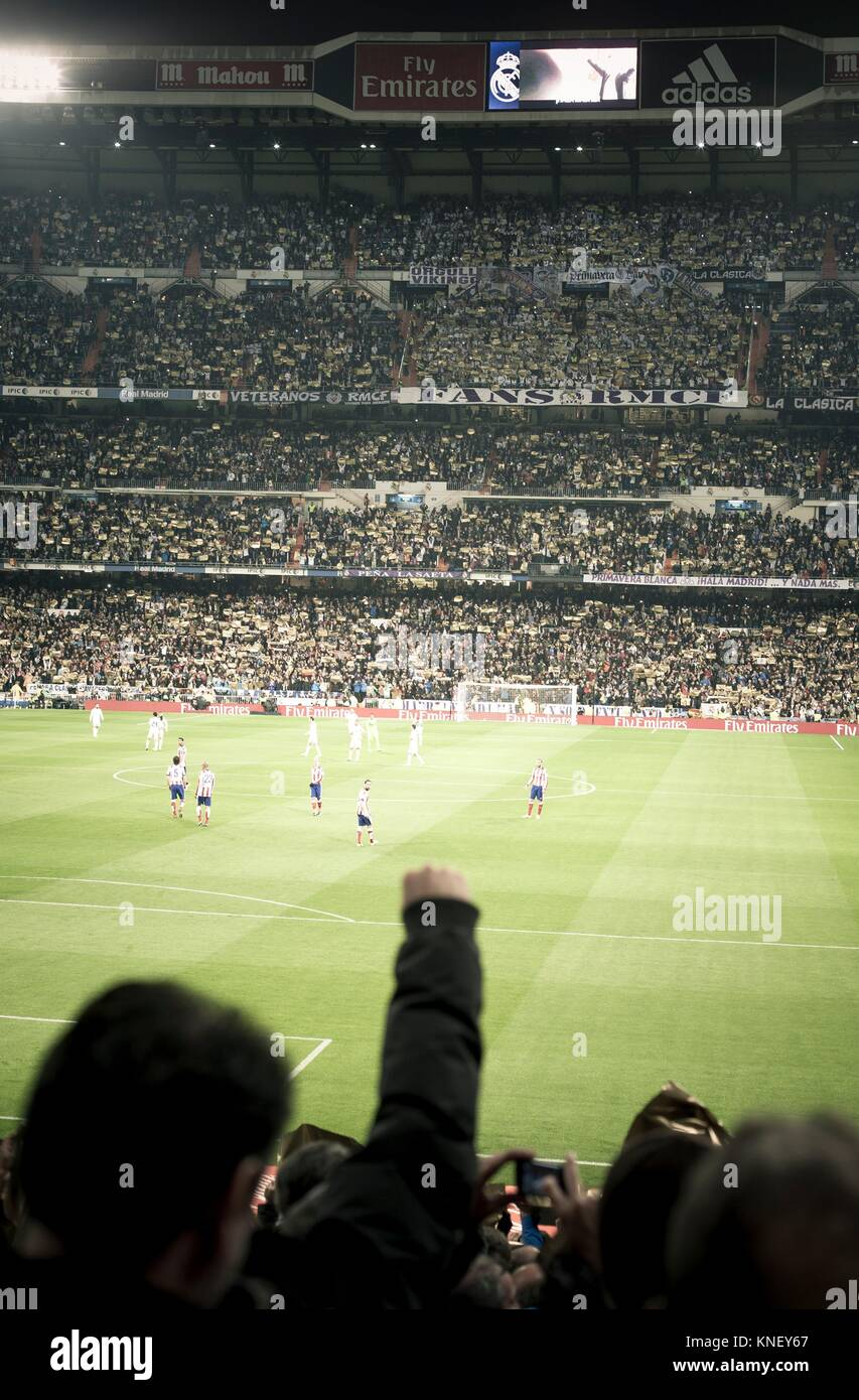 Real Madrid versus Atletico de Madrid in Santiago Bernabeu Stadium during a league match 2016. Madrid. Spain - Stock Image
